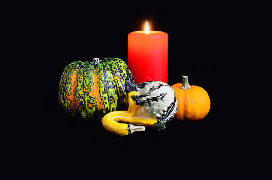 Gynt   - Pumpkins with candle on black