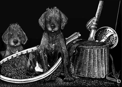 Puppies Are Ready to Go Fish by Anderson R Moore