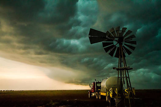 Pure Oklahoma - Windmill, Truck and Storm on Oklahoma Plains by Sean Ramsey