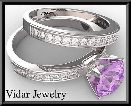 Purple Amethyst And Diamond 14k Wedding Ring And Engagement Ring Set by Roi Avidar