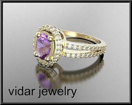 Purple Amethyst And Diamond 14k Yellow Gold Engagement Ring by Roi Avidar