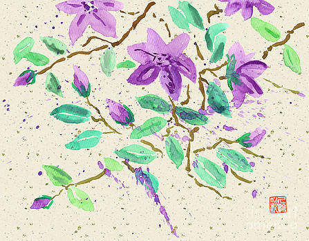 Beverly Claire Kaiya - Purple Clematis Watercolor Painting with Beige Washi Background
