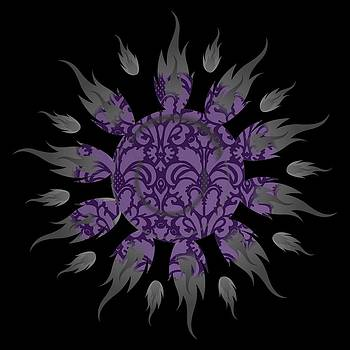 Purple Damask Sun by Anne Marie Baugh