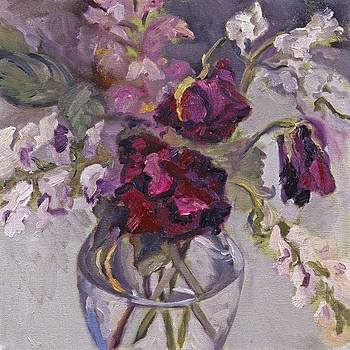 Purple Flowers in a Glass Vase by Mary Gingrich
