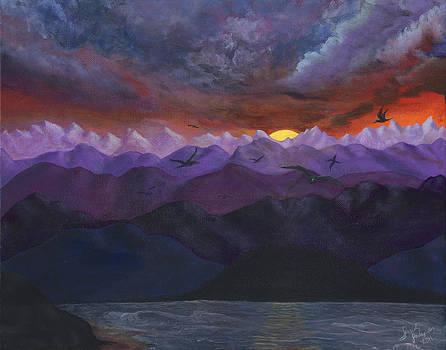 Purple mountain sunset by Sandy Jasper