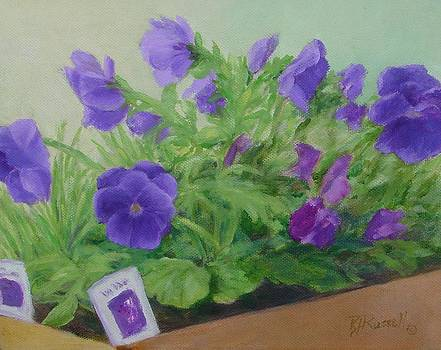 Purple Pansies Colorful Original Oil Painting Flower Garden Art  by Elizabeth Sawyer