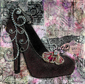 Janelle Nichol - Purple Shoes with butterfly on pink purple abstract background