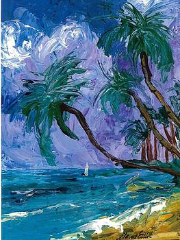 Purple Sky Palms by Elaine Elliott