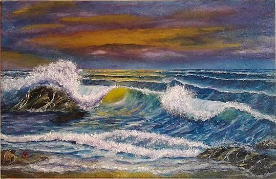 Purple Sunset Seascape by Gianluca Cremonesi