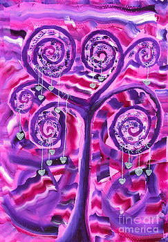 Beverly Claire Kaiya - Purple Tree with Little Silver Hearts Acrylic Painting