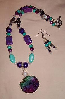 Purple Turquoise and Solar Quartz 2pc Set by Sharon Leigh