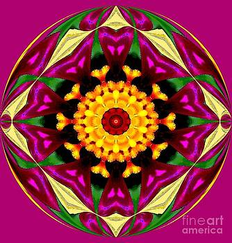 Purple Yellow Flower Orb by Annette Allman