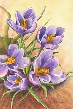Purple Crocuses by Oty Kocsis