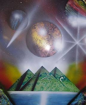 Pyramid and space spray painting - 3 green pyramids by Gianluca Cremonesi