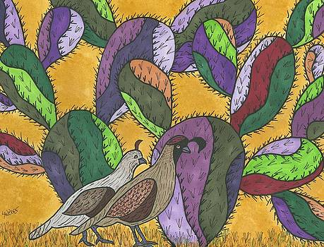 Quail and Prickly Pear Cactus by Susie Weber
