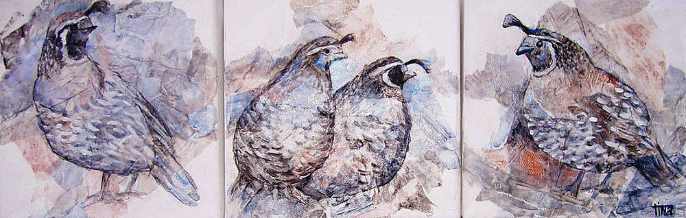 Quails triptych by Tina Siddiqui