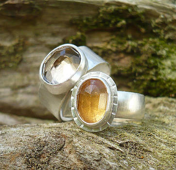 Quartz and Imperial Topaz Rings by Arianna Bara