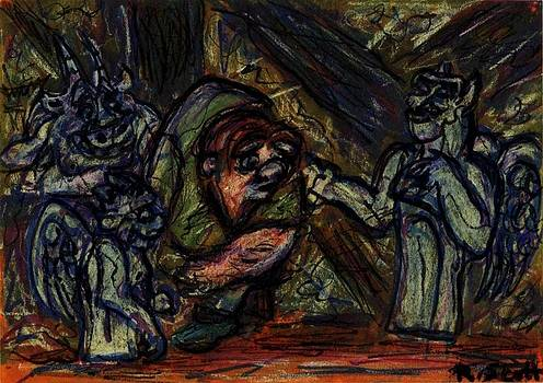 Quasimodo with Gargoyles by Rachel Scott