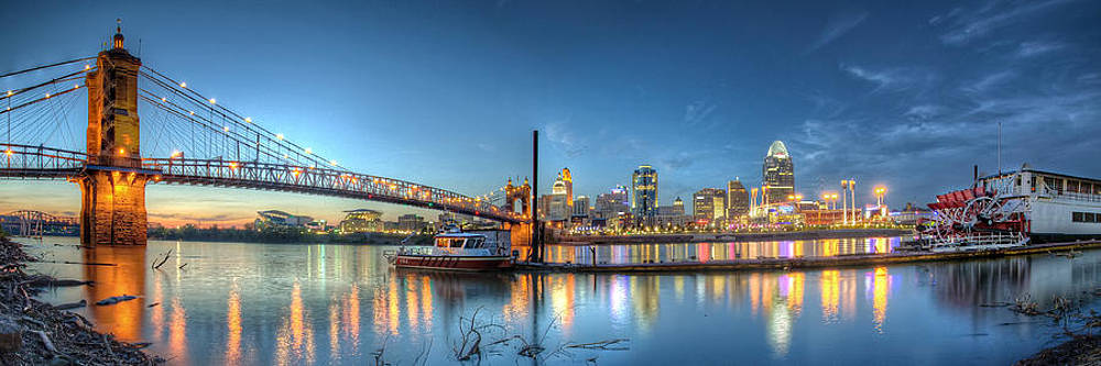 Queen City Panorama at Twilight by At Lands End Photography