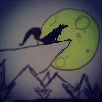 Quick Little Sketch. #wolf #art #moon by Chase Alexander