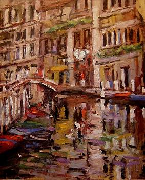 Quiet canal in Venice by R W Goetting