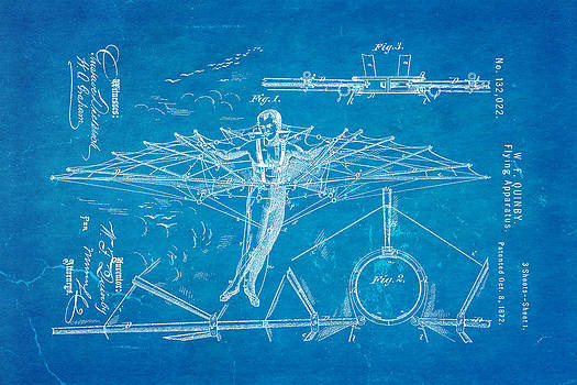 Ian Monk - Quinby Flying Apparatus Patent Art 1872 Blueprint