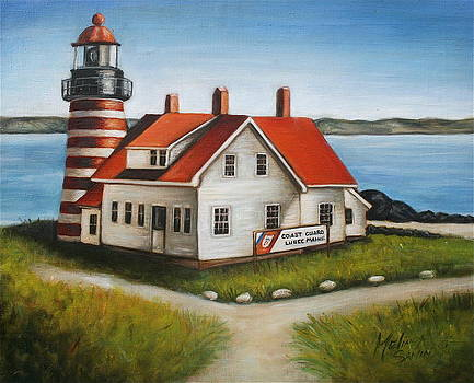 Quoddy Lighthouse Lubec Maine by Melinda Saminski
