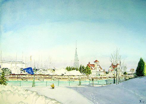 Racine Harbor in Winter by Maria Varga-Hansen