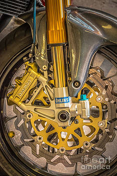 Ian Monk - Racing Bike Wheel with Brembo Brakes and Ohlins Shock Absorbers