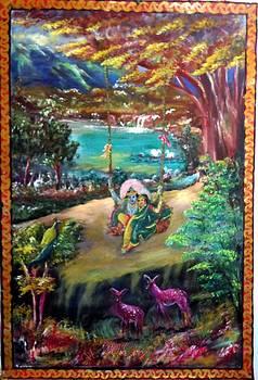 Radhe Krishna on swing by M bhatt