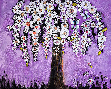 Radiant Orchid Flower Tree by Blenda Studio