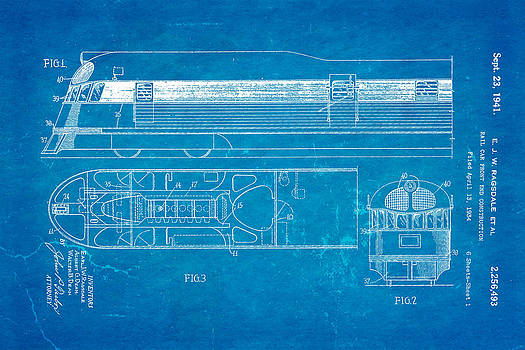 Ian Monk - Ragsdale Pioneer Zephyr Train Patent Art 1941 Blueprint