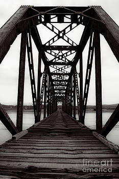 Railroad Train Trestle Black And White by Miss Dawn