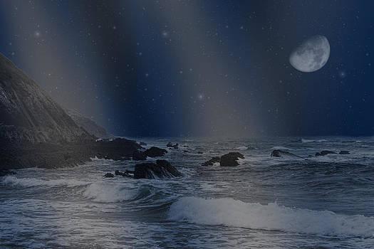 Rain of stars on the sea  by Angel Jesus De la Fuente
