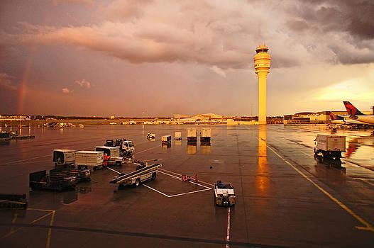Rainbow and airport  by Chikako Hashimoto Lichnowsky
