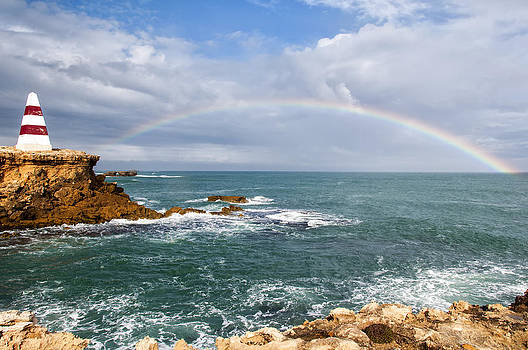Rainbow Over Cape Dombey Obelisk by Gej Jones