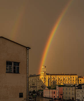 Rainbow behind the house by Philipp Polischuk