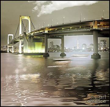 Rainbow Bridge and Tokyo Bay at night by Stefano Senise