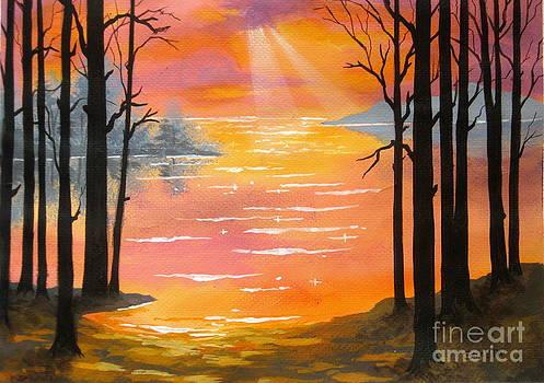 Shasta Eone - RAINBOW  LAKE - - fine art impressionist serenity landscape