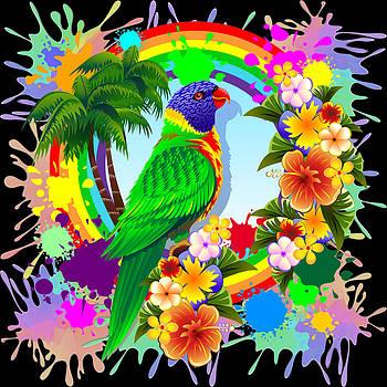 Rainbow Lorikeet Tropical Colors Explosion by BluedarkArt Lem