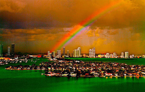 Rainbow over Miami Florida by Ronald  Bell