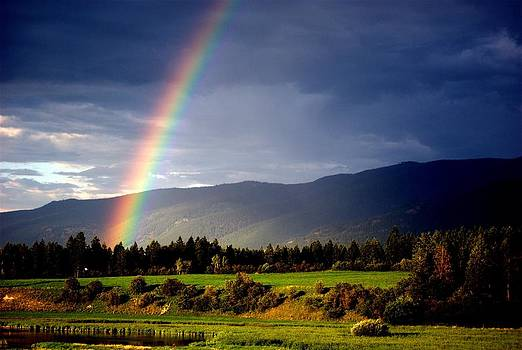 Rainbow over Okanagan Valley by Michael Dohnalek