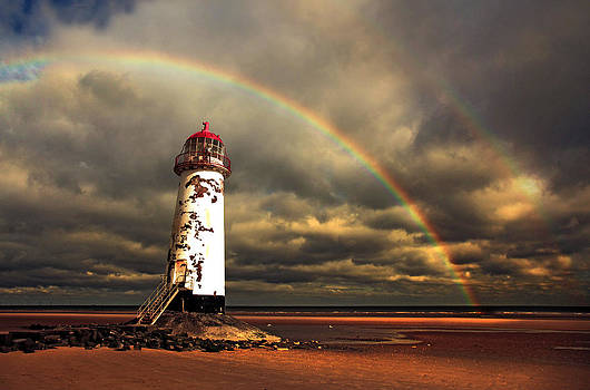 Rainbow over Talacre Lighthouse by Mal Bray