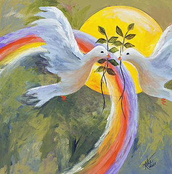 Rainbow Peace Doves by Katie Wolff