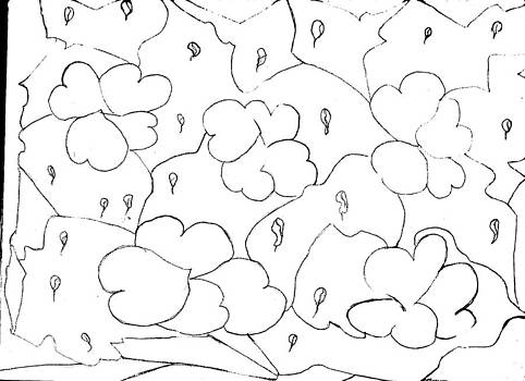 Raining Hearts Abstract Drawing by Thelma Harcum