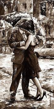Rainy day - Love in the rain 2 sepia by Emerico Imre Toth