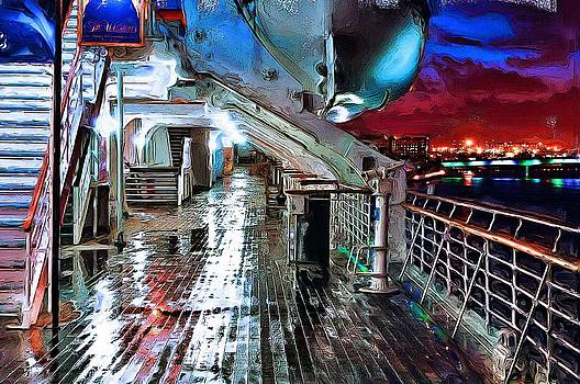Rainy Ship Deck by Cary Shapiro