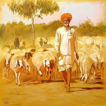 Rajasthani Shepherd by Ramesh Jhawar