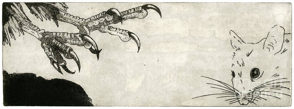 Raptor And Mouse - When There Is No Way Forward - Predator-Prey System - Food Chain - Etching Series by Urft Valley Art