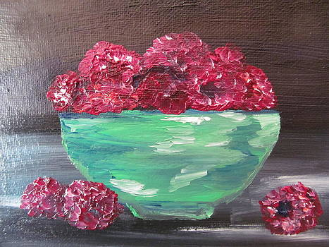 Raspberries In A Bowl by Susan Voidets
